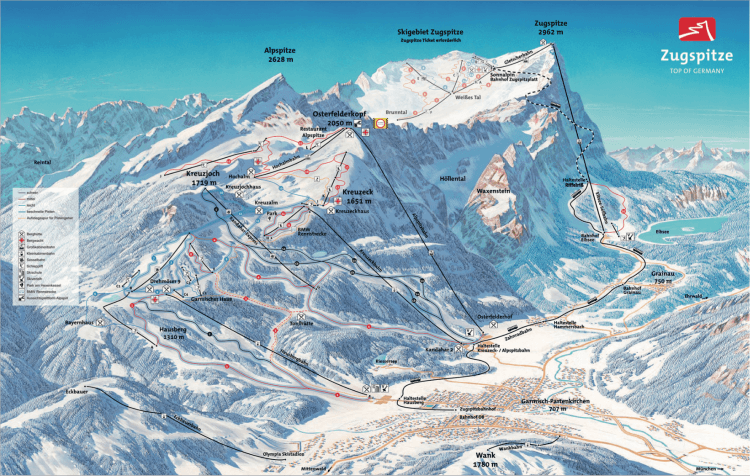 Карта горнолыжных трасс Цугшпитце