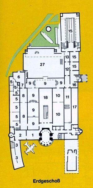 Схема помещений Немецкого Музея – Этаж на земле (Erdgeschoß)