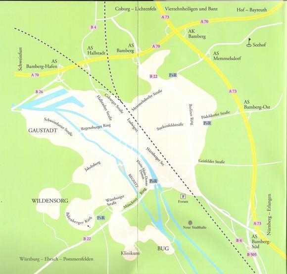 Экскурсия в Бамберг. Карта окрестностей Бамберга.