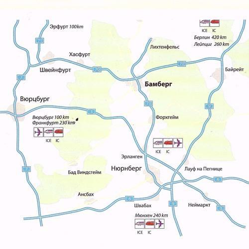 Экскурсия в Бамберг. Карта дорог в Бамберг.