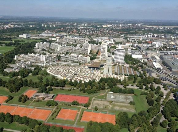 Олимпийская башня Мюнхена. Взгляд на север.