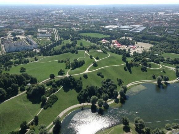 Олимпийская башня Мюнхена. Взгляд на юг.
