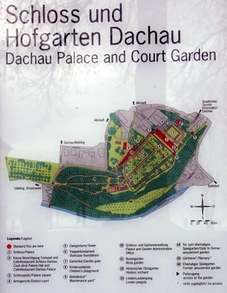 Дахау, Бавария. План-схема дворца и дворцового сада Дахау.