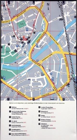 Дахау, Бавария. План центра города Дахау.