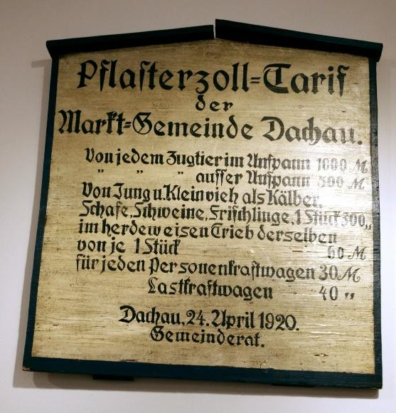 Дахау, Бавария. Рыночные пошлины, установленные общинным советом Дахау 24 апреля 1920 года (сразу после Первой мировой войны).