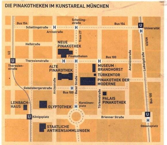 Мюнхен. Старая Пинакотека. Карта-схема Музейного квартала Мюнхена.