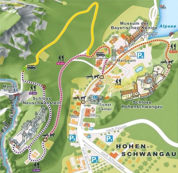 Карта окрестностей селения и замка Хоэншвангау.