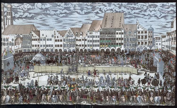 Рыцарский турнир на Мариенплатц, 1568 год. Гравюра.