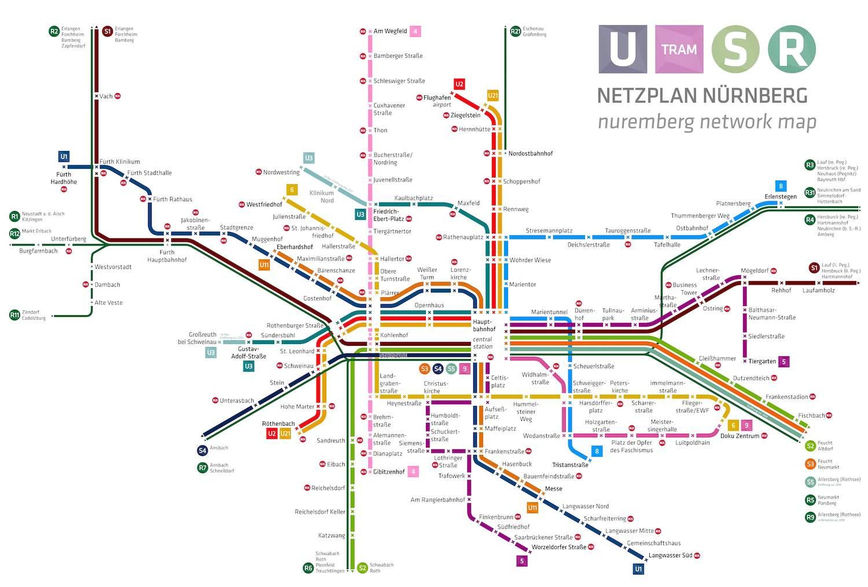 Схема линий метро Нюрнберга (Nürnberger U-bahn)