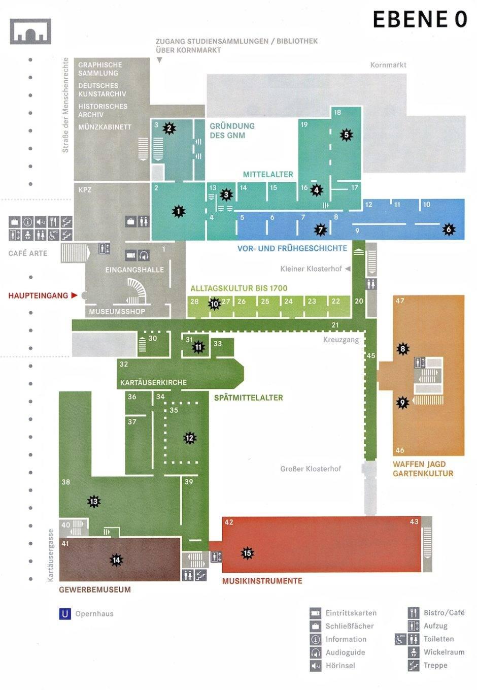 План нулевого (по-немецки) этажа Германского Национального Музея в Нюрнберге