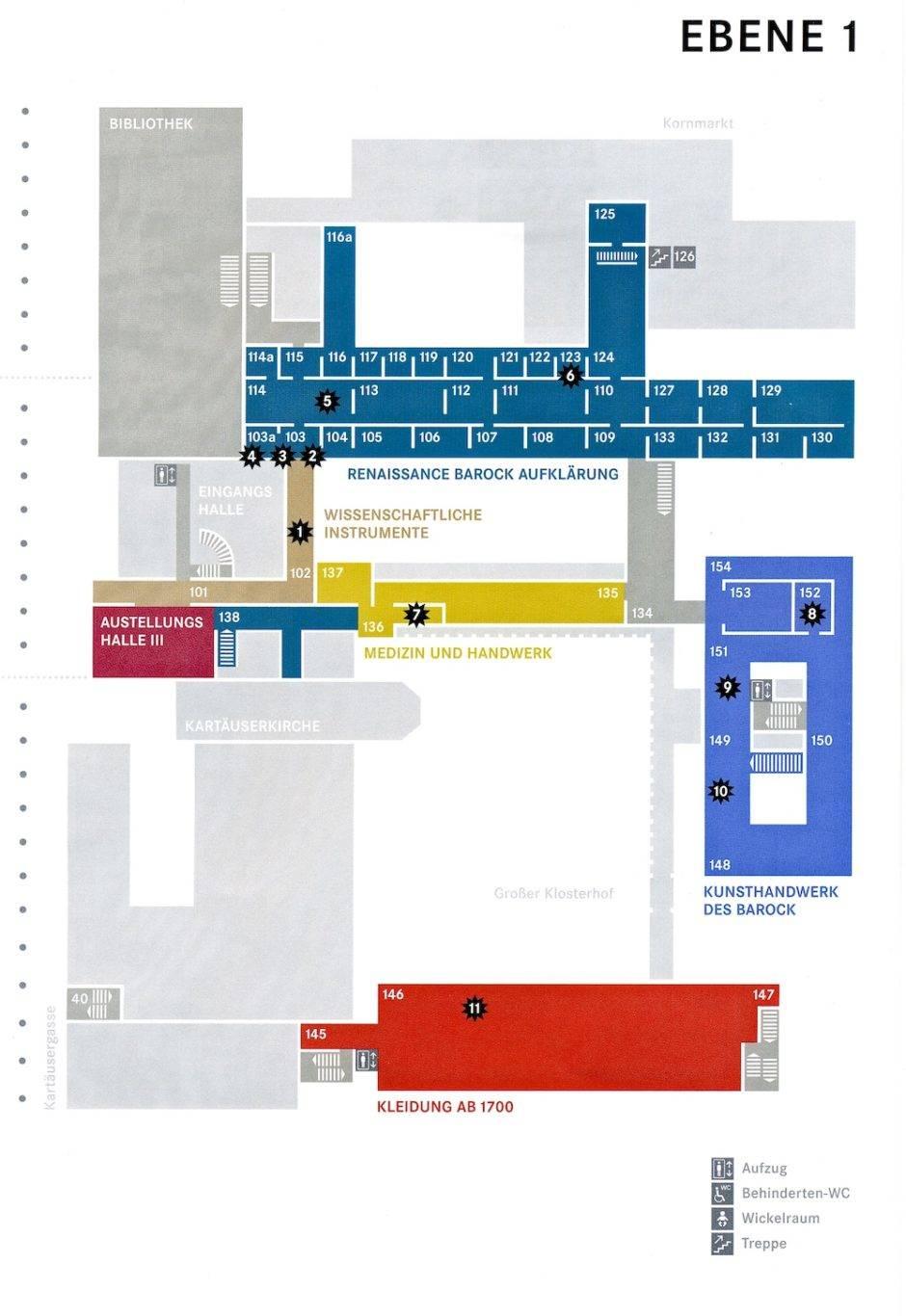 План первого этажа Германского Национального Музея в Нюрнберге