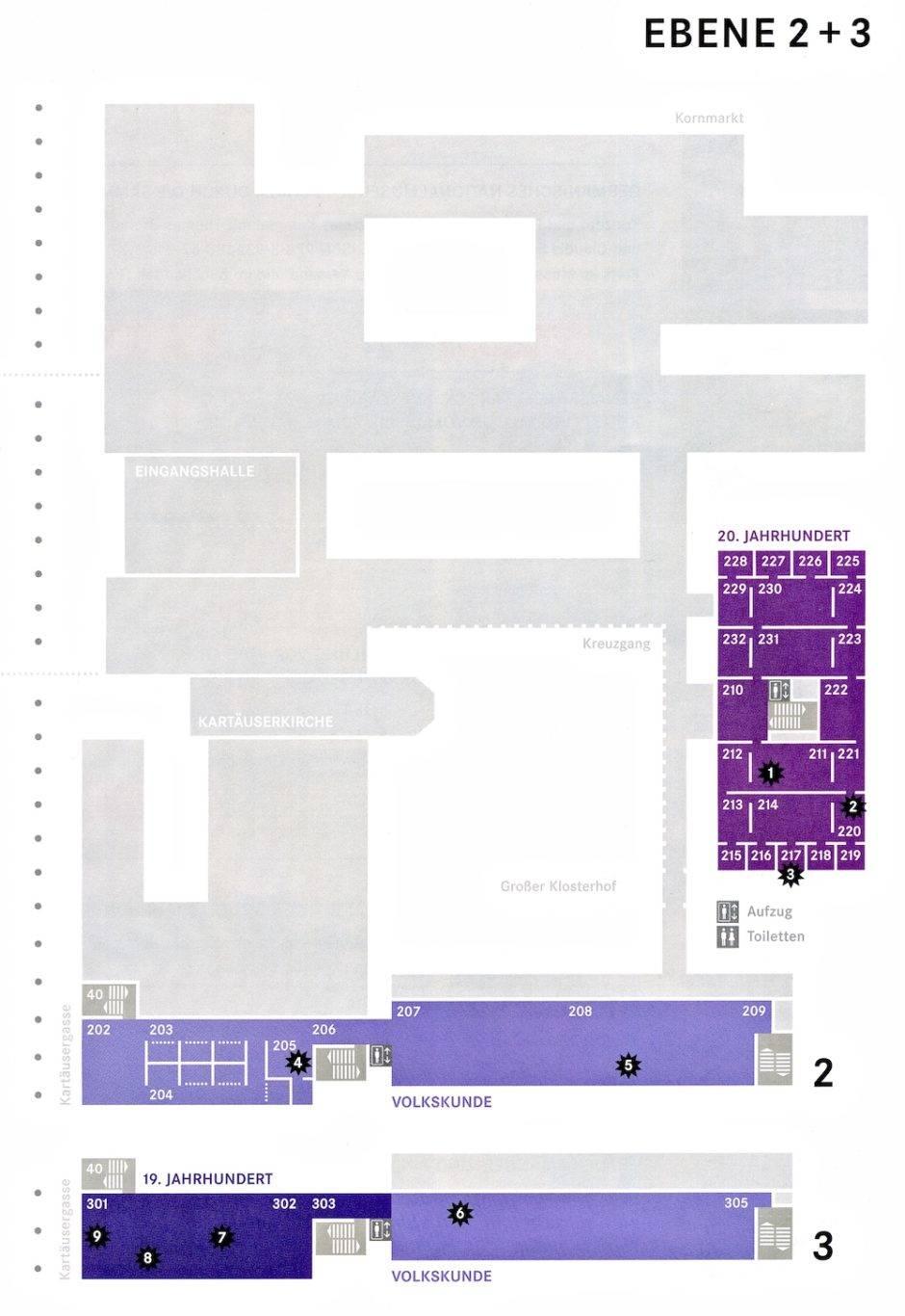 План второго и третьего этажей Германского Национального Музея в Нюрнберге